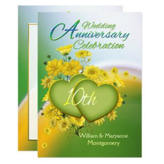 Party för bröllopsdag för solskenkärlek 10th 12,7 x 17,8 cm inbjudningskort