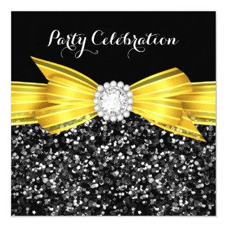 Party för diamant för svart för glittergultpilbåge fyrkantigt 13,3 cm inbjudningskort