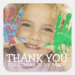 Party för för barn för tackfotoklistermärke fyrkantigt klistermärke