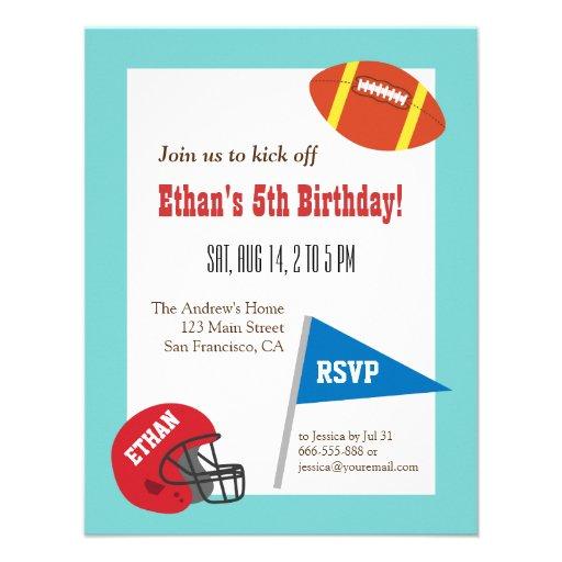 Party för fotbollhjälmbarns födelsedag anpassningsbara inbjudningskort