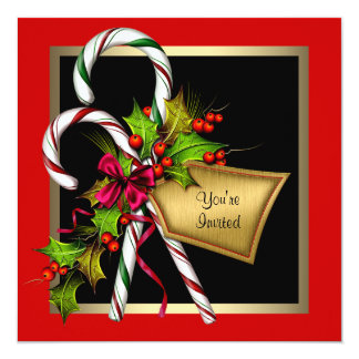 Party för jul för candy canejärnek rött fyrkantigt 13,3 cm inbjudningskort