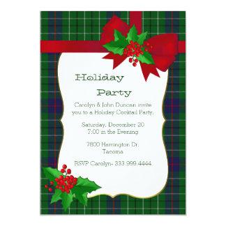 Party för jul för pläd för klassikerDuncan Tartan 12,7 X 17,8 Cm Inbjudningskort