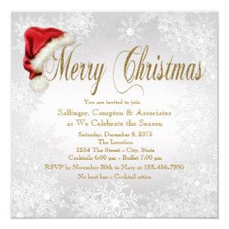 Party för jul för Santa hattSnowflake företags Fyrkantigt 13,3 Cm Inbjudningskort