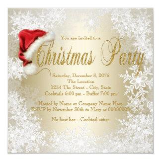 Party för jul för Santa hattSnowflake Fyrkantigt 13,3 Cm Inbjudningskort