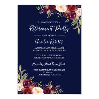 Party för pension Burgundy för röd marin blom- 12,7 X 17,8 Cm Inbjudningskort