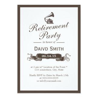 Party för pension för gräns för vintagegrammofon 12,7 x 17,8 cm inbjudningskort