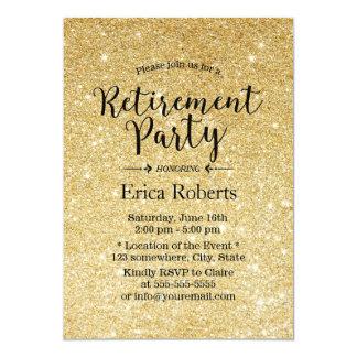 Party för pension för guld- glitterSparkles 12,7 X 17,8 Cm Inbjudningskort