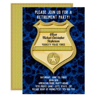 Party för pension för polis för emblemblåttmarmor 12,7 x 17,8 cm inbjudningskort