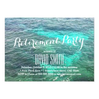 Party för pension för strandblåttvatten 12,7 x 17,8 cm inbjudningskort