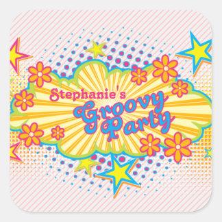 party för personlig för flower power för 70-taltem klistermärke