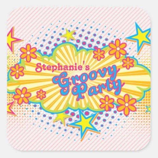 party för personlig för flower power för fyrkantigt klistermärke