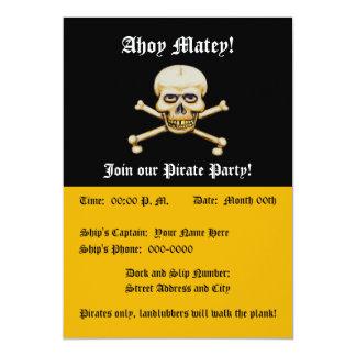 Party för pirat för skalleamdben 12,7 x 17,8 cm inbjudningskort