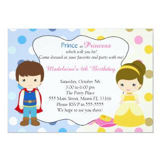 Party för Prince Princess Inbjudan Lura Birhday