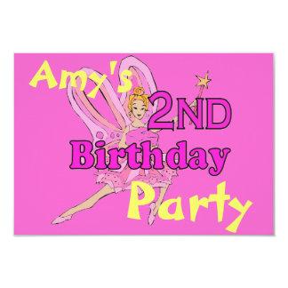 Party för princess för 2nd födelsedag för flicka 8,9 x 12,7 cm inbjudningskort