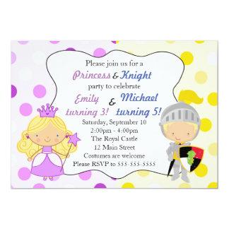 Party för princess- och riddareinbjudanbarns 12,7 x 17,8 cm inbjudningskort