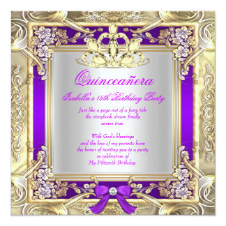Party för Princess Quinceanera Guld Lila Försilvra Fyrkantigt 13,3 Cm Inbjudningskort