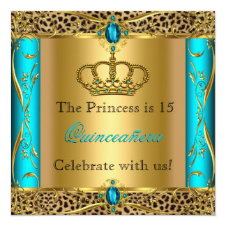 Party för Princess Regal Kricka Leopard Fyrkantigt 13,3 Cm Inbjudningskort