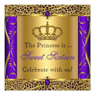 Party för Princess Regal Lila Leopard Sötsak 16 Fyrkantigt 13,3 Cm Inbjudningskort