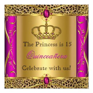 Party för Princess Regal Rosa Leopard Quinceañera Fyrkantigt 13,3 Cm Inbjudningskort