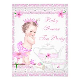 Party för Princess rosa Tea för vintagebaby 10,8 X 14 Cm Inbjudningskort