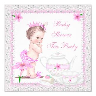 Party för Princess rosa Tea för vintagebaby Fyrkantigt 13,3 Cm Inbjudningskort