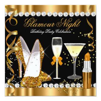 Party för silver för svart för guld för fyrkantigt 13,3 cm inbjudningskort