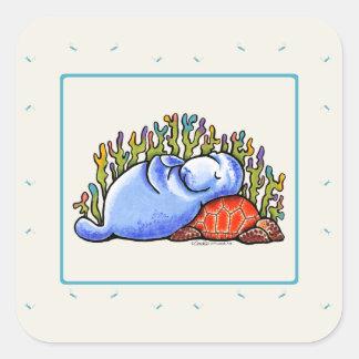 Party för slummer för fiskar för fyrkantigt klistermärke