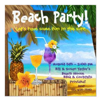 Party för strand för palmträdcoctailar vuxet fyrkantigt 13,3 cm inbjudningskort