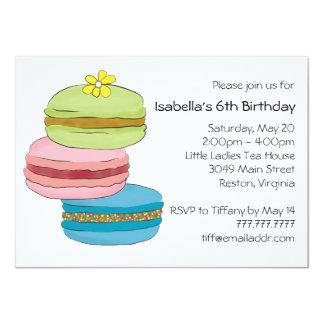 Party för Tea för födelsedag för Macarons 11,4 X 15,9 Cm Inbjudningskort