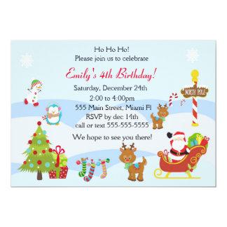 Party för ungar för födelsedaginbjudanjul 12,7 x 17,8 cm inbjudningskort
