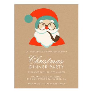 Party för vintageHipsterSanta jul Vykort