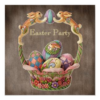 Party för vintagepåskhare- & äggpåsk fyrkantigt 13,3 cm inbjudningskort