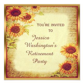 Party för vintagesolrospension fyrkantigt 13,3 cm inbjudningskort