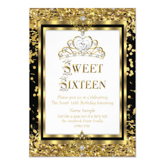 Party för vit för Regal guld för Princess Sötsak 12,7 X 17,8 Cm Inbjudningskort