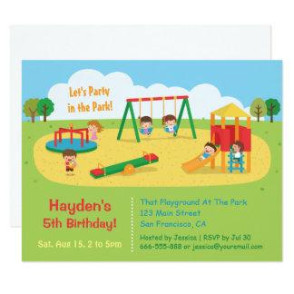 Party i parkeralekplatsbarns födelsedag 10,8 x 14 cm inbjudningskort