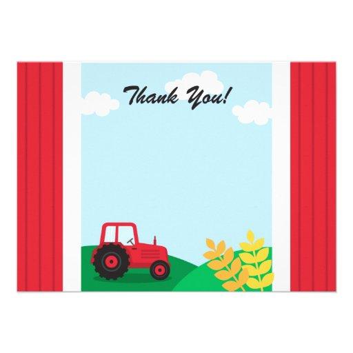 Partyet för lantgårdtraktorbarns födelsedag tackar anpassade inbjudningskort