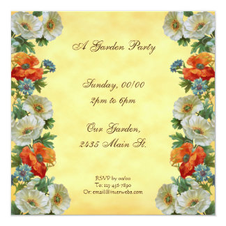 Partyet för vallmoanpassningsbarträdgården fyrkantigt 13,3 cm inbjudningskort