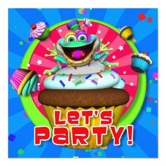 """Partyet inviterar """"l5At oss festa!"""", med Fribbets Fyrkantigt 13,3 Cm Inbjudningskort"""
