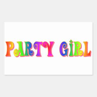 Partyflicka Rektangulärt Klistermärke