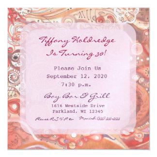 Partyflickan smutsar ner stilfödelsedag för 30 fyrkantigt 13,3 cm inbjudningskort