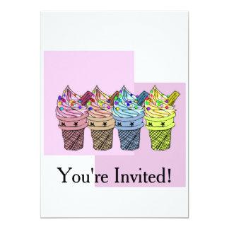Partyinbjudan för glass fyra 12,7 x 17,8 cm inbjudningskort