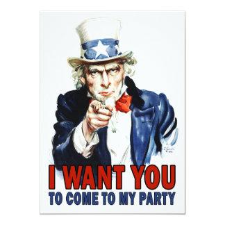 Partyinbjudan: VintageUncle Sam 12,7 X 17,8 Cm Inbjudningskort