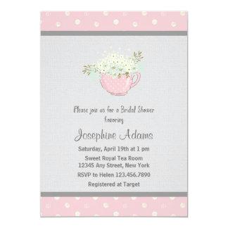 Partyinbjudningskort för möhippan för rosa Tea 12,7 X 17,8 Cm Inbjudningskort