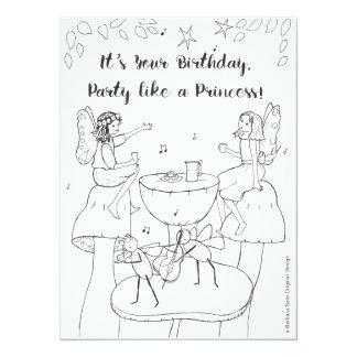 Partynågot liknande en Princess ColorIn Kort 14 X 19,5 Cm Inbjudningskort