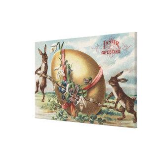 Påsk GreetingsRabbits vid ett dekorerat ägg Canvastryck
