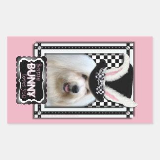 Påsk - någon kanin älskar dig - bomull de Tulear Rektangulärt Klistermärke