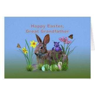 Påsk stor- farfar, kanin, ägg, blommor hälsningskort