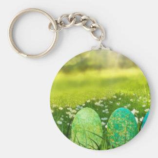 Påskägg i vårgröntar och deppigheter rund nyckelring