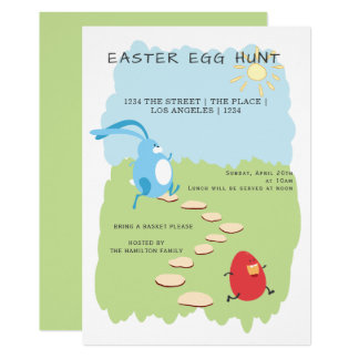 Påskäggjaktkanin och äggpersonlig 12,7 x 17,8 cm inbjudningskort