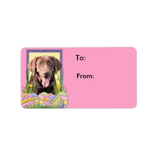 Påskäggkakor - Labrador - choklad Adressetikett
